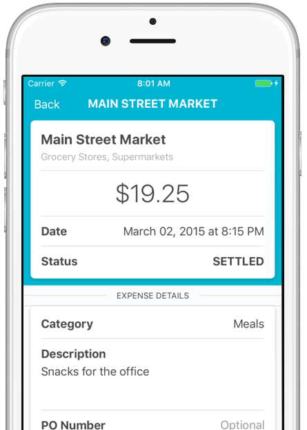 Image of dash™ mobile app, viewing a detail screen for a purchase at Trader Joe's. Store name, purchase amount, time and date, authorization status, and purchase category are all visible.