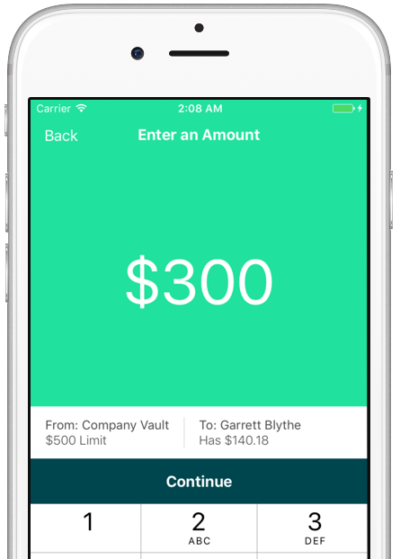 "Image of phone running the dash app. Screen reads: ""Enter an amount: $150"""