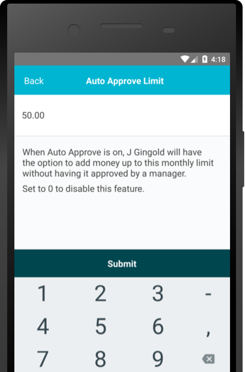 Image of phone running the BizNOW® app showing the Auto Approve Limit screen. The user has entered a limit of $50.