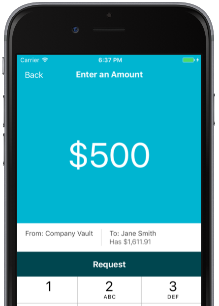 "Image of phone running the BizNOW® app. Screen reads: ""Enter an amount: $500"""